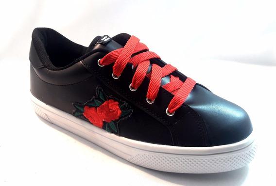 Mal018 Zapatillas Estilo Negras Flor Del 41 Al 44