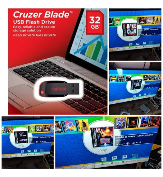 Pen Drive 32gb Com 60 Jogos Ps1 Clássic + Desbloqueio