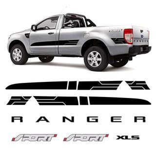 Kit Adesivos Faixa Ranger Cs Sport 2014/2016 Xls Preto