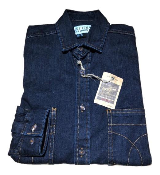 Camisa De Mezclilla Con Dos Bolsas Bordadas Guess Slim Fit