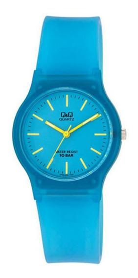 Relógio Infantil Masculino Azul Transparente Q&q Prova Dágua