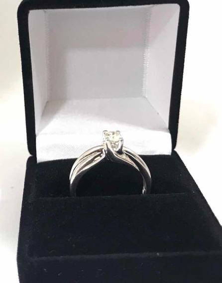Anillo Compromiso Diamante 25pts Oro Blanco 14kl + Regalo