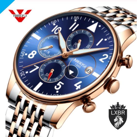 Relógio Top Lançamento 2019 Nibosi Original Azul Misto Rose Funcional Prova Dagua Aço Inox Luxo Social Masculino C11