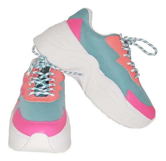 Tênis Sneaker Feminino Candy Colors Neon Marca Zatz