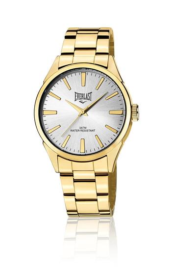 Relógio Everlast Com Pulseira Aço E639 Masc Dourado+prata