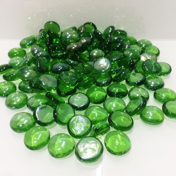 Gemas De Vidrio Verde Traslucido 17-19 Mm X 500 Gs.