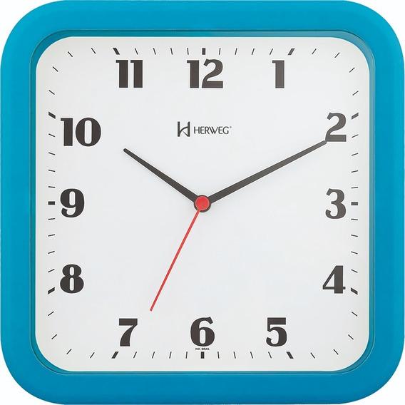 Relógio Parede Herweg 6145 23cm Quadrado Azul 267