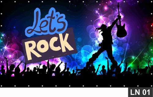 Imagem 1 de 6 de Painel De Festa Rock N Roll 4,00x1,80m Aniversário Decoração
