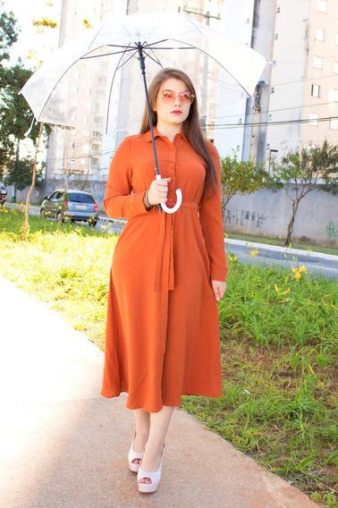 Vestido Midi Toque De Seda Moda Evangélica Sany