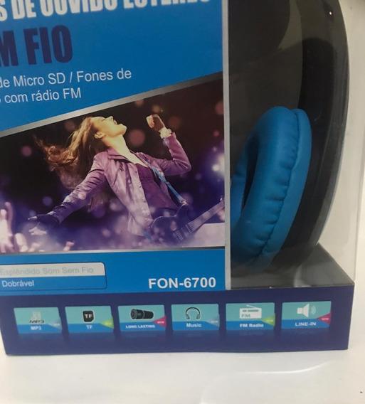 Fone De Ouvido Bluetooth Sem Fio Dobrável Com Sd Rádio Fm