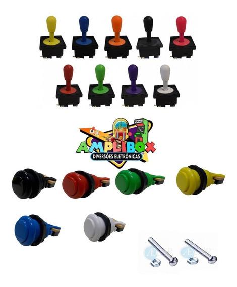 Kit Arcade 20 Botões Nylon Aegir Toque Rápido + 2 Comandos.