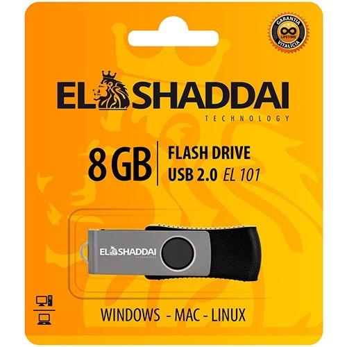 Pendrive 8gb El Shaddai Usb Preto Novo Com Nf E Garantia