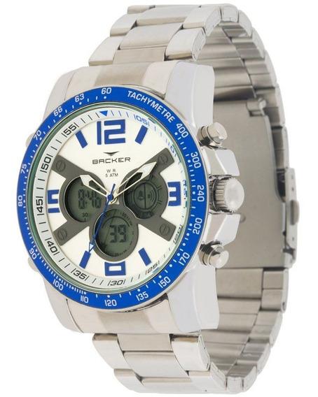 Relógio Backer Masculino Prata 3573323m Br
