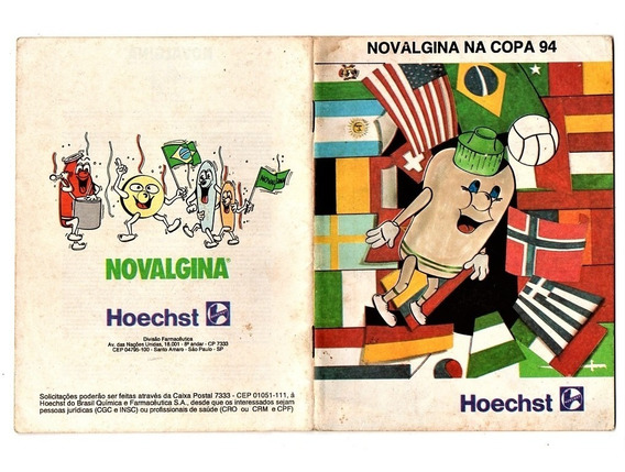 Propaganda Antiga Tabela Copa Mundo 1994 - Novalgina