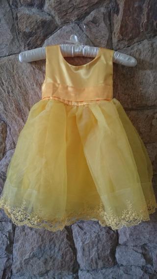 Vestido Infantil Festa Princesa Bela Amarelo Tam 3, 4,6