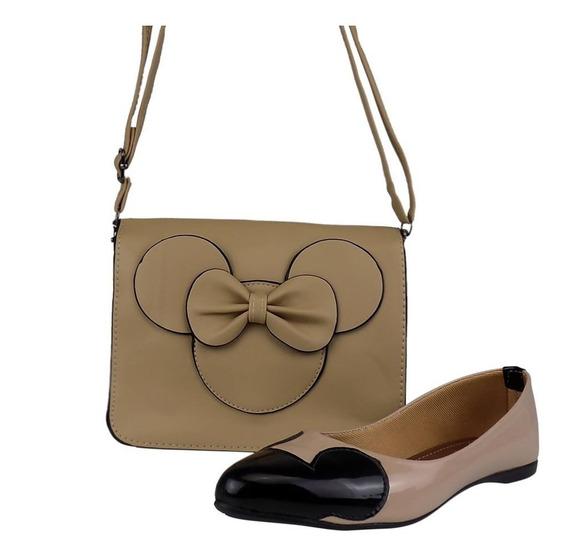 Kit Bolsa Feminina Minnie Mickey + Sapatilha Rasteira Moda