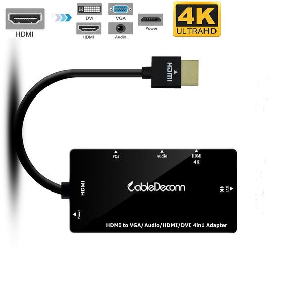 Hdmi Hdmi Splitter Para Vga Dvi Audio Video Cable Preto