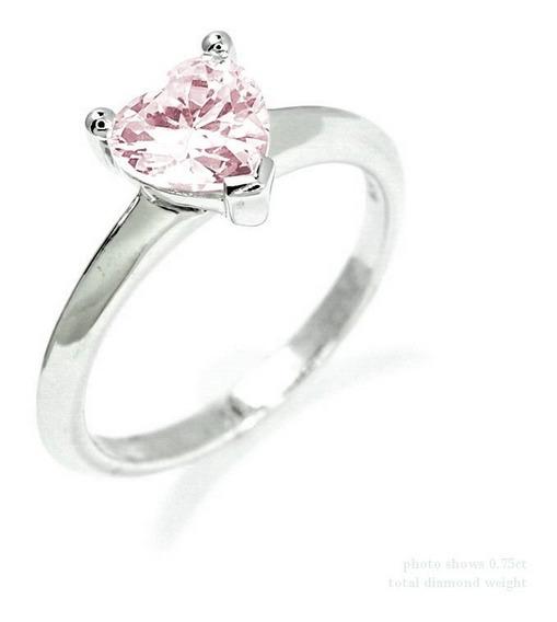 Anillo Con Diamante Cultivado Corazón Rosa De .50 Cts.