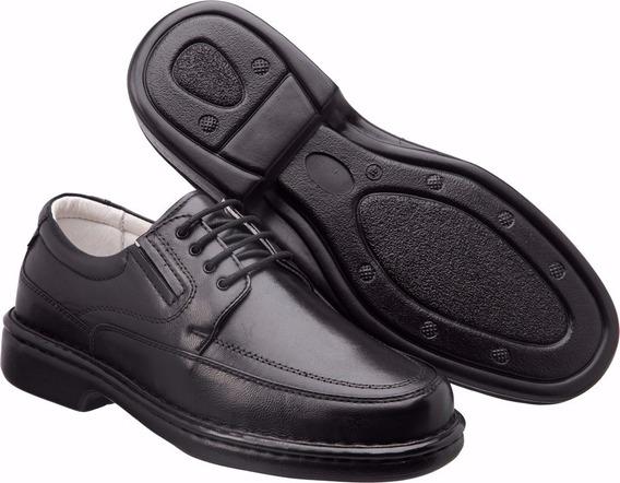 Sapato Social Masculino Antistres Couro Carneiro Leve E Conf
