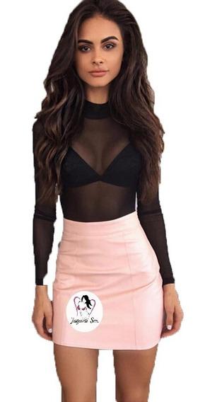 Falda Moda Coreana Tipo Piel Recta Rosa Super Sexy Mod.r082