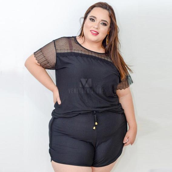 Kit 3 Conjunto Plus Size Short E Blusa Super Confortável