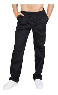 Pantalon Para Chef Unisex Negro Con Resorte Bolsillos T. M