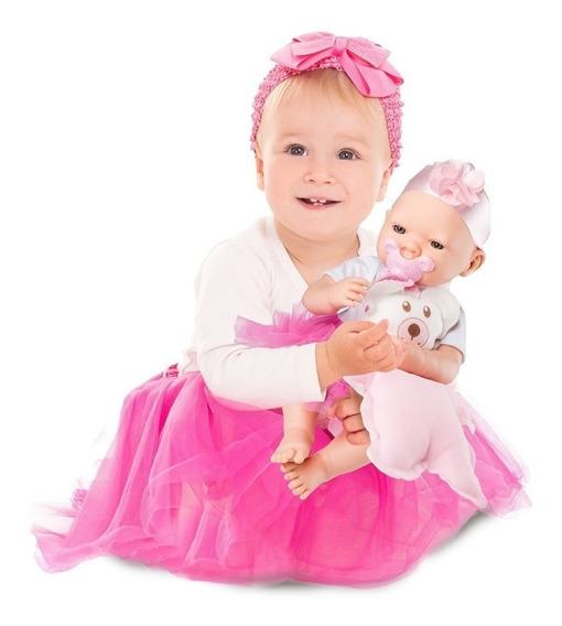 Bebezinho Estilo Reborn Menina Linda Com Chupeta E Mantinha