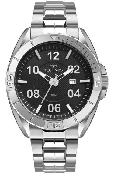 Relógio Masculino Technos Racer 2117 Lcb/1p Aço Prata