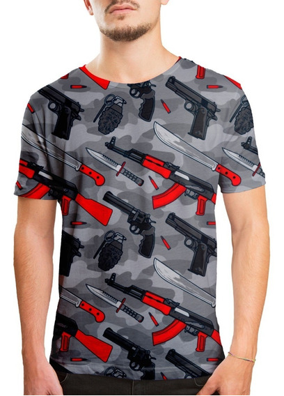 Camiseta Masculina Armas Estampa Digital