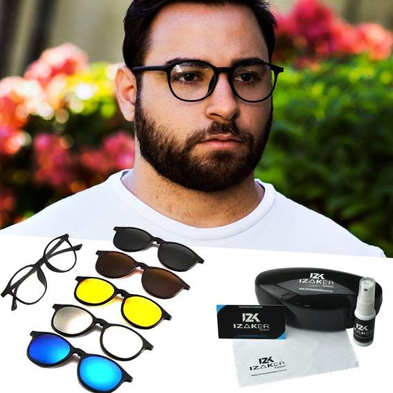 Oculos Armação Grau Sol Clipon 5 Em 1 Redondo Retro Clip-on