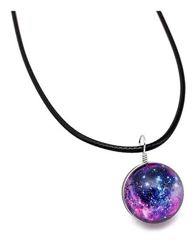 Collar Galaxia Nebulosa Cristal Universo Cosmos Hombre Mujer