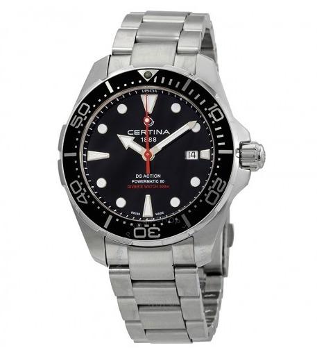 Relógio Masculino Suíço Certina Action Diver Preto/prata/aço