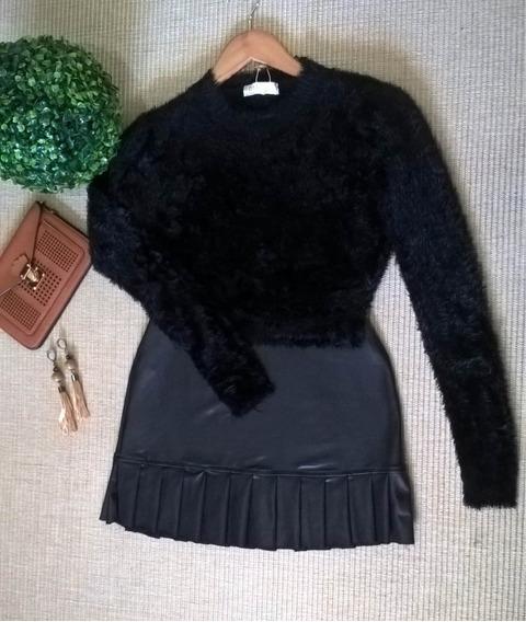 Blusa Feminino Cropped Tricot Pelúcia Pelinhos Inverno