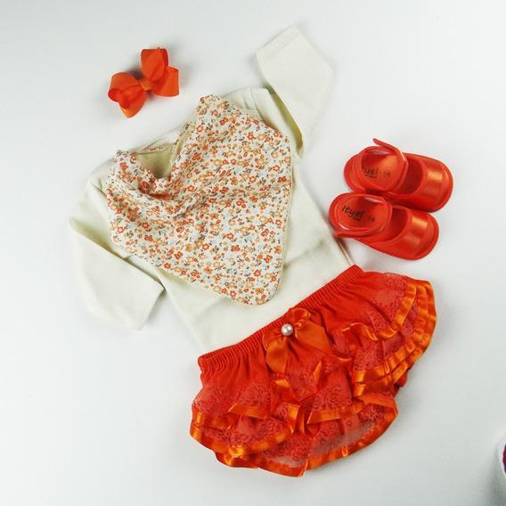 Kit Conjuntinho Bebê Bandana Calcinha Body Sapatinho Laranja