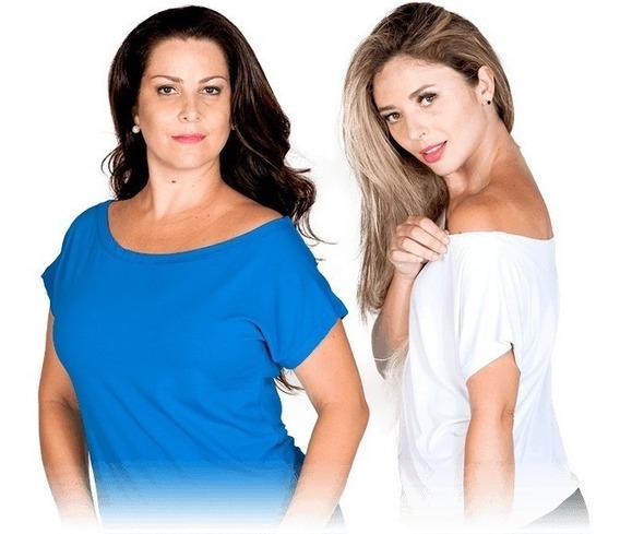 2 Blusas Feminina Ombro Caído Visco-lycra Camiseta Blusinha