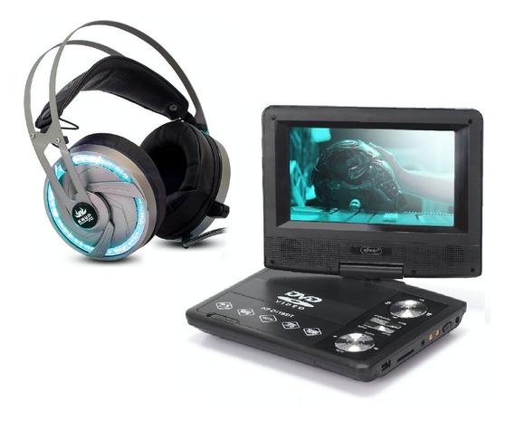 Kit Knup Dvd Portátil C/ Tela D119 + Fone Gamer 7.1 Kp434
