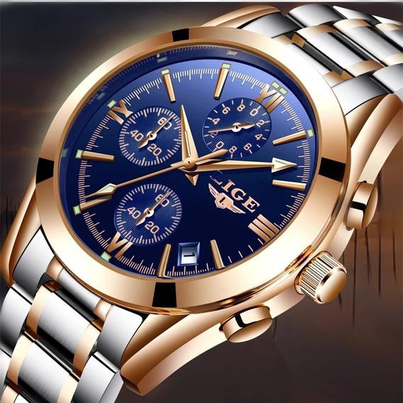 Lige Homens Relógios Top Marca De Luxo Completo Aço