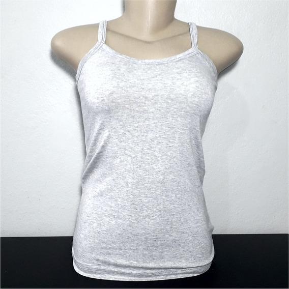 Blusinha De Alcinha Cinza Camiseta Feminina Cores Básicas