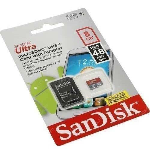 Cartão De Memória Micro Sd 8gb Sandisk Ultra 48mb/s + Adapta