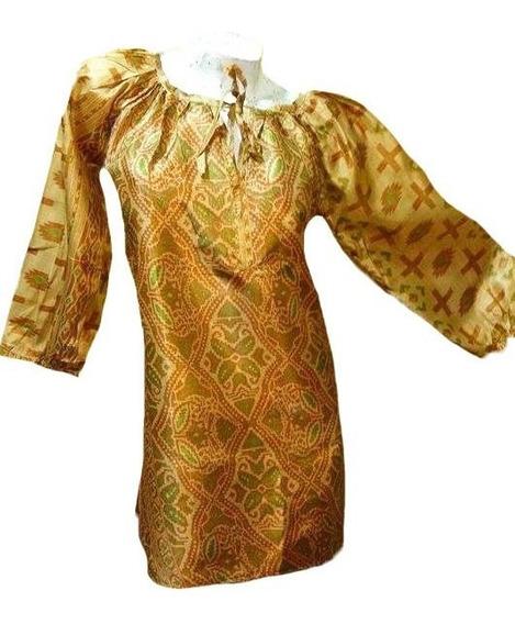 Vestido Tunica Manga 3/4 Ropa Hindu Large Varios Colores