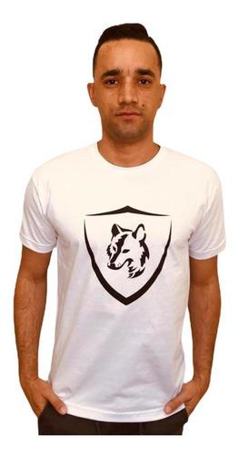 Camiseta Brasão Lobo Branca C010