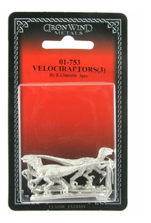3 Figuras De Metal En Forma De Velociraptores