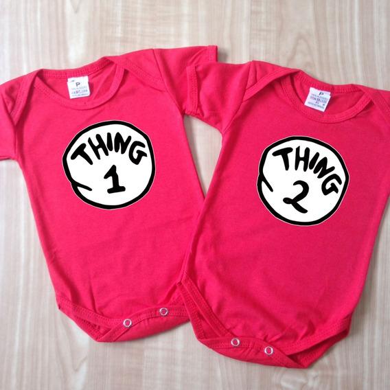 Kit Body Thing 1 E Thing 2 - Bodies Gêmeos - Bebê Coisa
