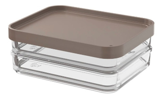 Pote Clear Duo 560ml 13,1x16,7x6cm Warm Gray Coza