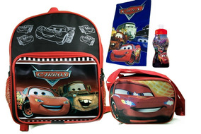 Carros Kit Escolar Mochila Infantil Lancheira Squeeze Estojo