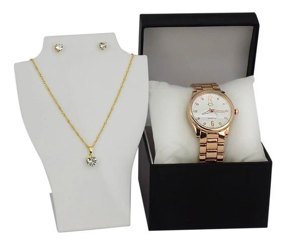 Relógio Feminino Original Dourado + Colar E Brinco , Lindo