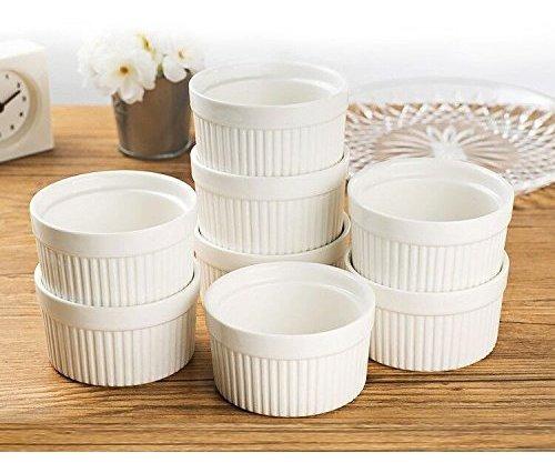 Set De 8 Piezas 6 Oz De Porcelana Redonda Horno Safe Ramekin