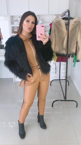 Casaco Feminino Luxo Pele Preto Inverno Frio