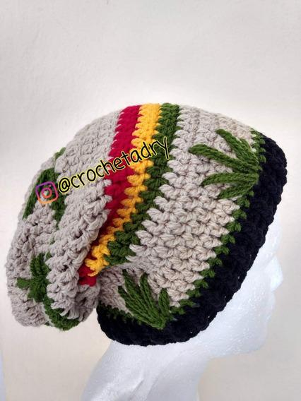 Gorro Rastafari Cannabis Crochet
