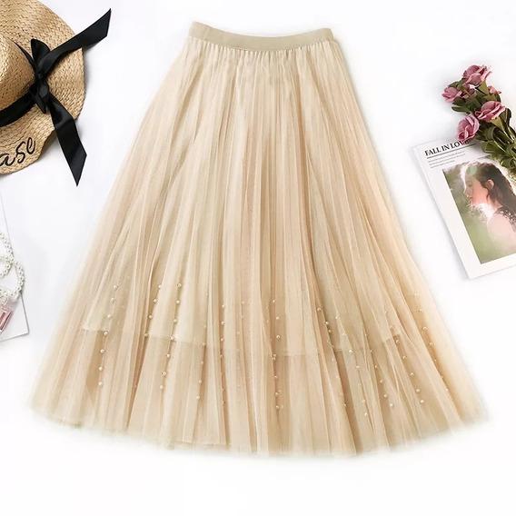 Falda Plisada De Tul Con Toque De Perlas, Moda Casual